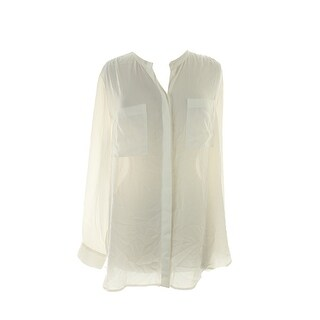 Inc International Concepts White Long-Sleeve High-Low Blouse