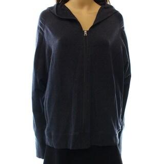 Zellla NEW Blue Heather Women's Size Large L Hooded FullZip Knit Jacket