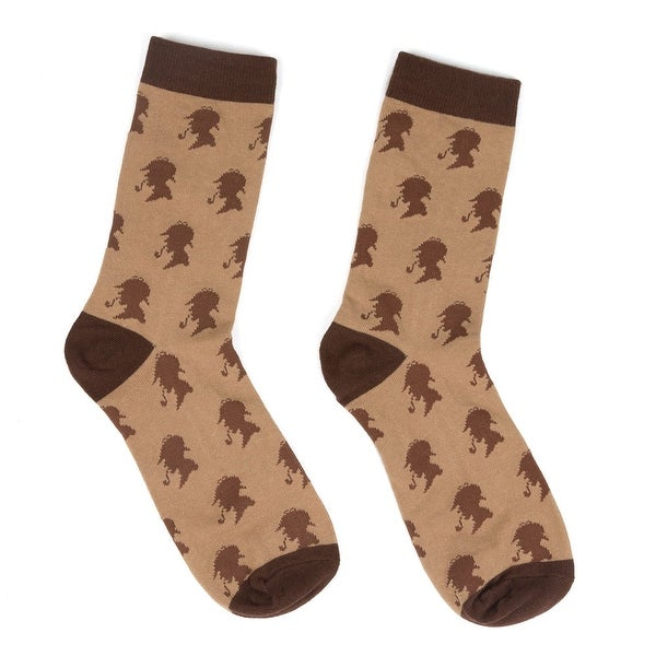 Unisex Adult Sherlock Holmes Socks - Brown & Tan with Profile Silhouette