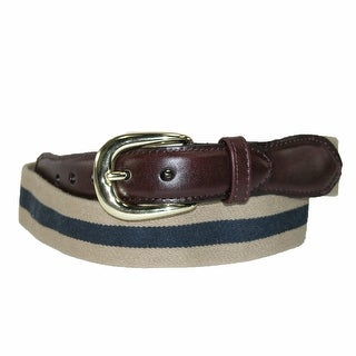 Rogers-Whitley Men's Cotton Elastic Two Tone Stretch Belt - tan / navy