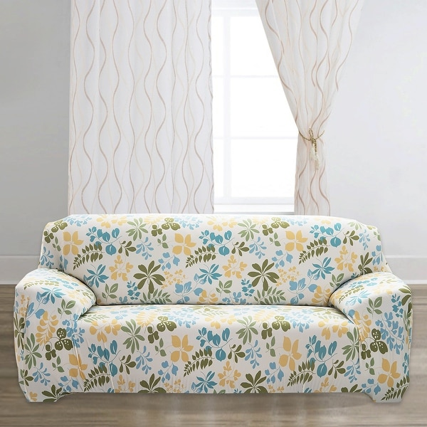 Unique Bargains Stretch 3 Seats Flower Pattern Sofa Cover Slipcovers Couch Protector Beige 74