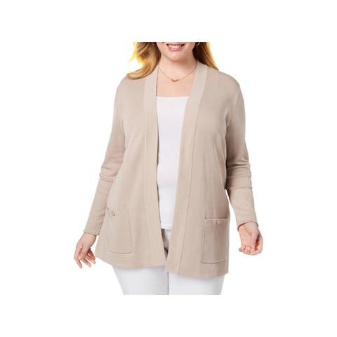 Anne Klein Womens Plus Cardigan Sweater Tunic Open Front