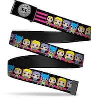 Dc Originals Reverse Brushed Silver Cam Dc Mini Girls Stripe Black Web Belt