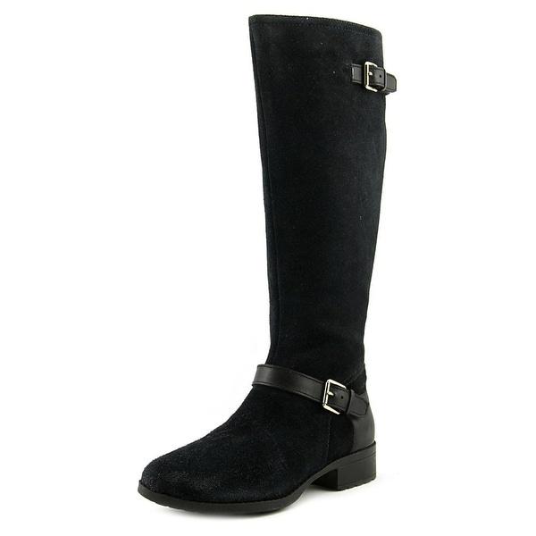 8eb9f530224 Shop Cole Haan Marla Women Round Toe Suede Black Mid Calf Boot ...