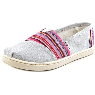 Toms Classic Youth  Round Toe Canvas Gray Flats