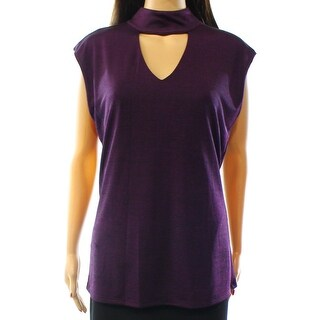 INC NEW Purple Women's Size XL Cutout Halter Shimmer Mock Neck Blouse