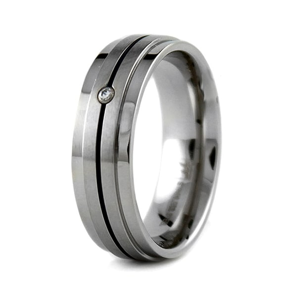Stainless Steel Ring with Dark Blue Stripe and CZ 7.5mm (Sizes 8-12)