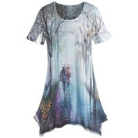 Women's Impressionist Print Tunic Top - Short Sleeve Blouse - European Street Scene
