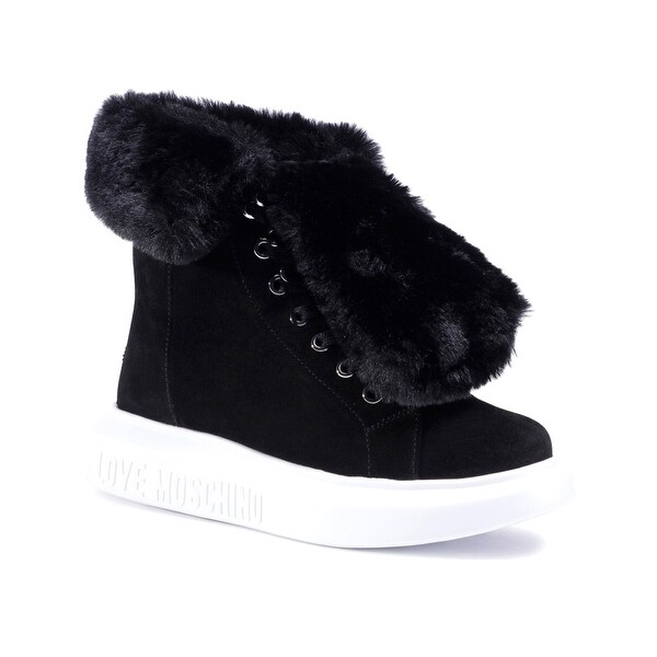 Love Moschino Women's Suede Leather Fur Trainers Black. Opens flyout.