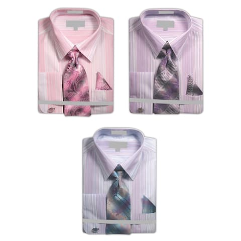 Men's Multicolor Stripe Dress Shirt with French Cuffs Neck Tie Handkerchief Cufflinks Set