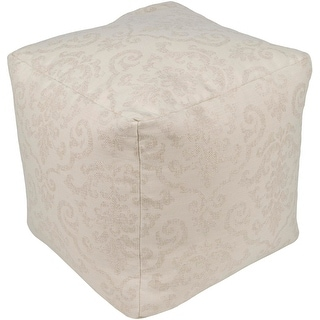 "18"" Neutral Beige and White Damask Pattern Cube Shape Pouf Ottoman"