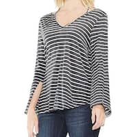 Two by Vince Camuto Womens Small V Neck Striped Top