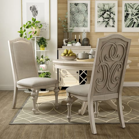 The Gray Barn Caelum Farmhouse Antique White Side Chairs (Set of 2)