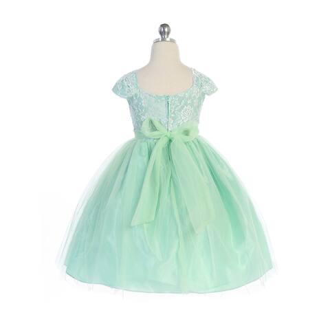 Little Girls Mint Cape Sleeves Bow Lace Taffeta Tulle Flower Girl Easter Dress