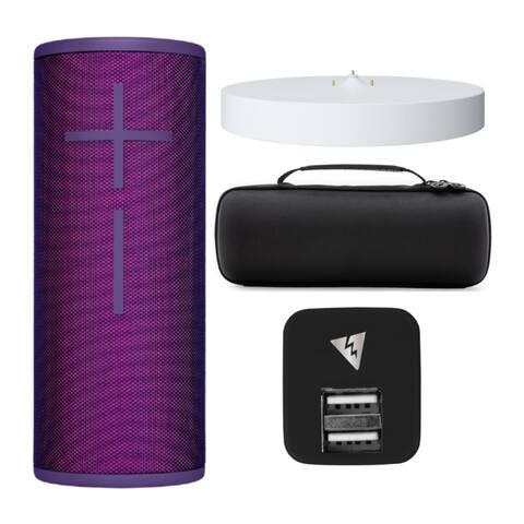 Ultimate Ears BOOM3 Speaker w/ Case, Adapter & Charging Dock Bundle - Ultraviolet Purple