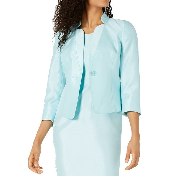 Kasper Womens Jackets Aquas Blue Size 16 Stand-Collar One-Button. Opens flyout.