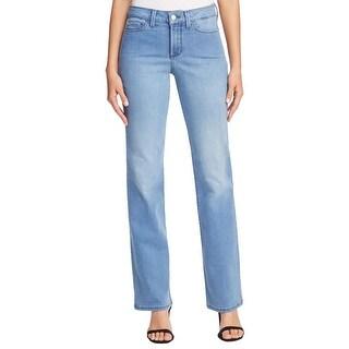 NYDJ Womens Petites Barbara Bootcut Jeans Medium Wash Slimming