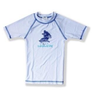 Azul Unisex Baby White Short Sleeve Solid Logo Detail UPF 50+ Rash Guard - 24 months