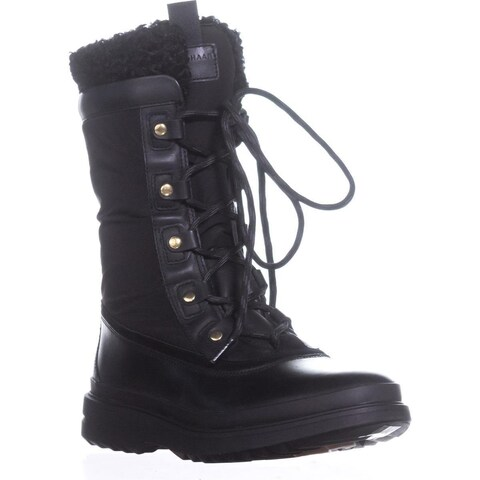 Cole Haan Millbridge Lace up Winter Boots, Black Leather