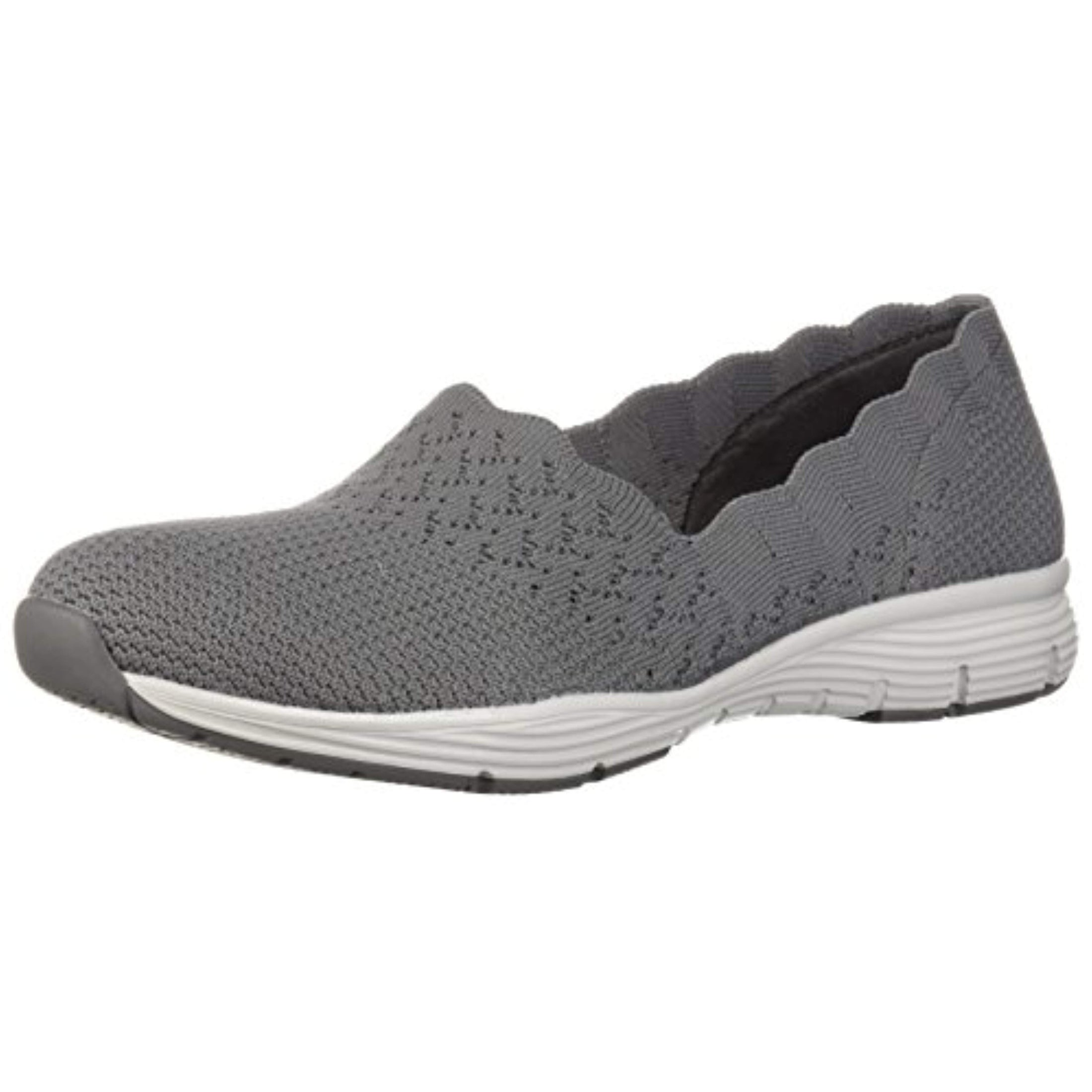 Skechers Women's Seager STAT Scalloped Collar, Engineered Skech Knit Slip On Classic Fit Loafer, Gray, 6.5 M US