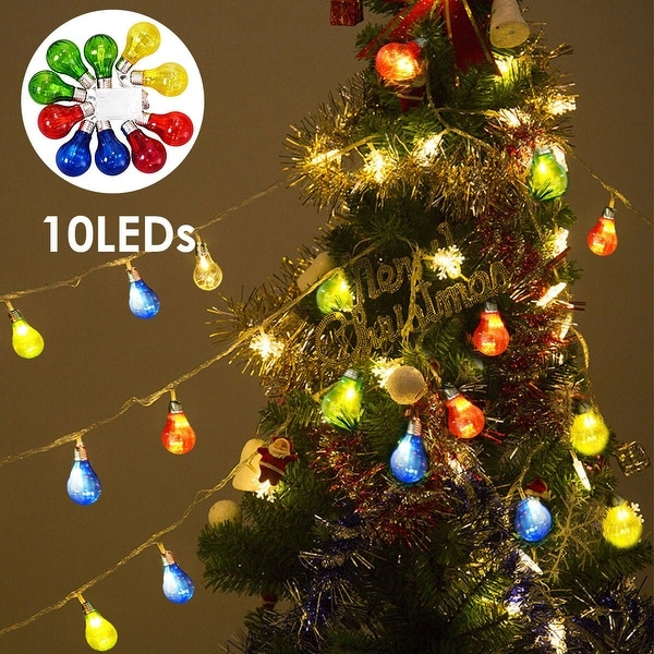 Costway Christmas Xmas 10 LED String Ball Lights Wedding Party Decor Fairy Lamp Colorful - color