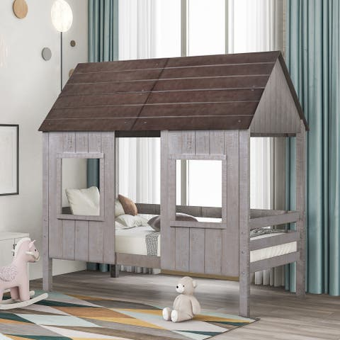 Nestfair Twin Size Low Loft Wood House Bed with Two Front Windows