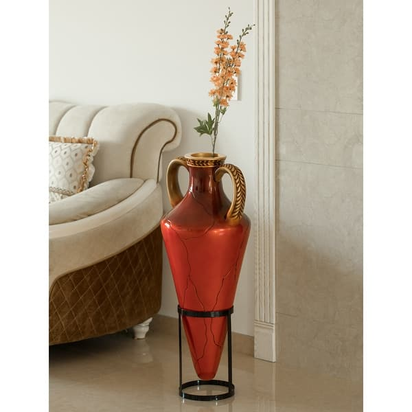 Roman Style Large Pointed Amphora 35 Tall Floor Vase On Metal Tripod Stand Red And Gold Overstock 32650932