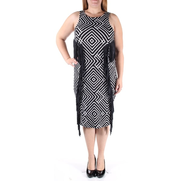 dcedc53677059 Shop womens black white striped sleeveless midi shift dress size on sale  free shipping on orders