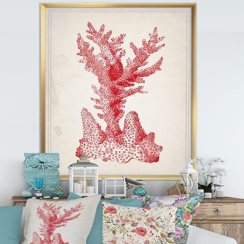 Designart 'Red Coral 1' Nautical & Coastal Framed Art Print