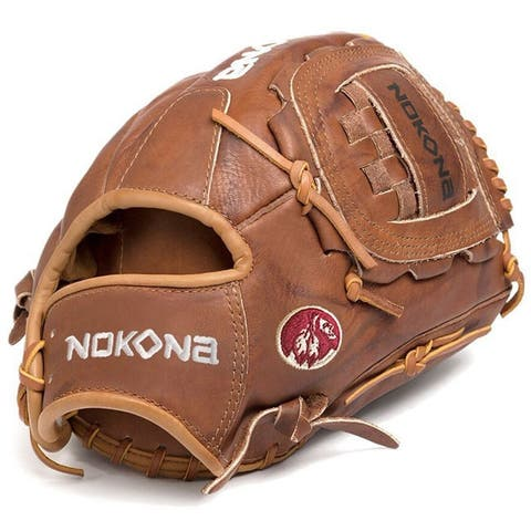 Nokona W-1200/L Walnut 12-inch Baseball Glove with Closed Web for Right Handed Thrower