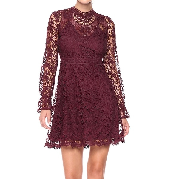 Catherine Catherine Malandrino Red Grapewine Women 8 Lace Dress