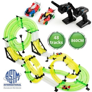 Link to Gymax Autoflier Kids RC Rail Car Race Track Set 28.5ft 3D Track Speed Booster Playset - as pic Similar Items in Toy Vehicles