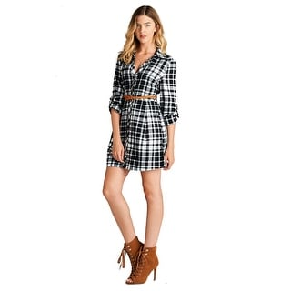 Women's 3/4 Roll-Up Sleeve Button Down Plaid Belted Shirt Dress