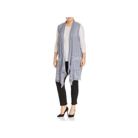 Love Scarlett Womens Plus Duster Sweater Draped Fring - 2X