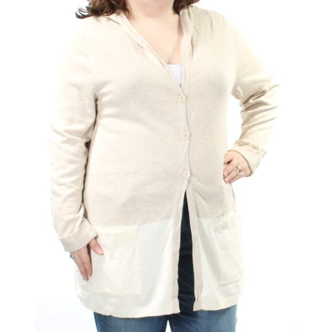 STYLE & CO Womens Beige Color Block Long Sleeve V Neck Button Up Sweater Plus Size: 1X