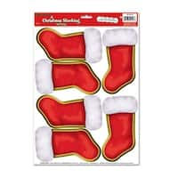 """Club Pack of 72 Christmas Stockings Peel 'N Place Wall Clings Decorations 17"""" - RED"""