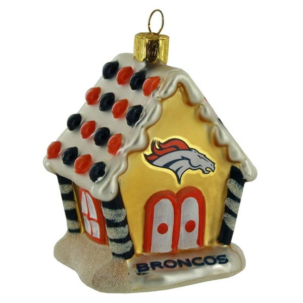 Shop NFL Denver Broncos Football Gingerbread House Glass Christmas Ornament - Free Shipping On Orders Over $45 - Overstock - 18681328