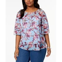 NY Collection Blue Women's Size 1X Plus Layered Floral-Print Blouse