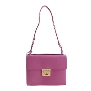 Salvatore Ferragamo Ginny Leather Shoulder Handbag - Purple - M