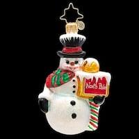 Christopher Radko Glass Nice Up North Snowman Gem Christmas Ornament #1017210