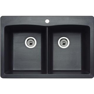 "Blanco 440221  Diamond 33"" Drop-In or Undermount Double Basin Composite Kitchen Sink"