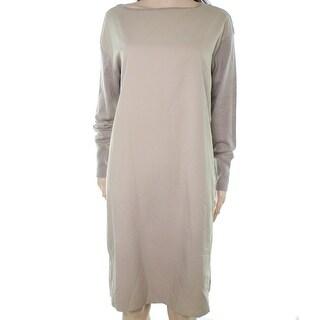 Lauren By Ralph Lauren NEW Beige Heather Womens Large L Shift Dress