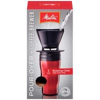 Melitta 1-Cup Pour-Over Coffee Brew Cone & Travel Mug Set, Red