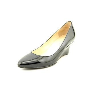 Cole Haan Catalina Wedge Open Toe Patent Leather Wedge Heel