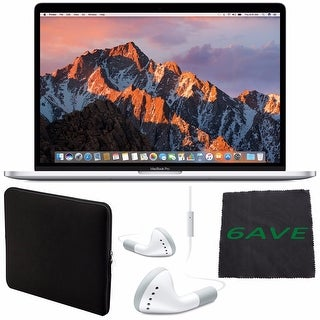 "Apple 15.4"" MacBook Pro with Touch Bar (Silver) #MPTU2LL/A + White Wired Earbuds Headphones + Padded Case + Fibercloth Bundle"