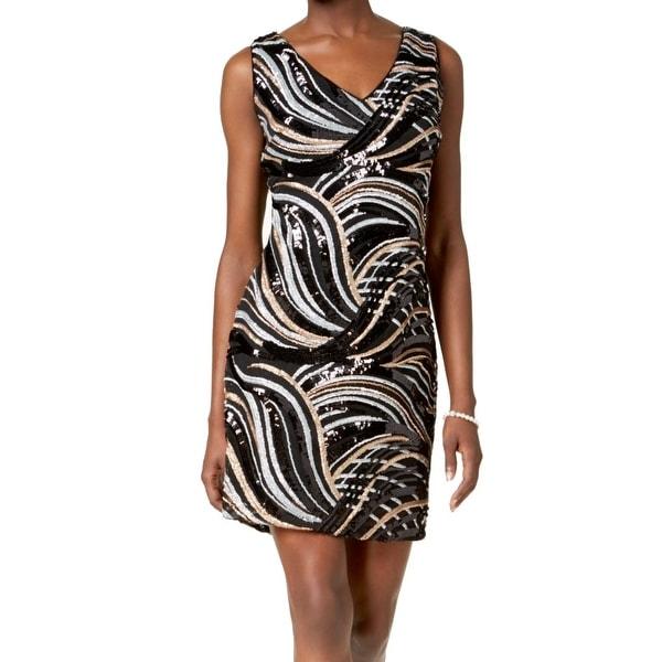 SLNY Black Gold Silver Womens Size 14 V-Neck Sequin Sheath Dress