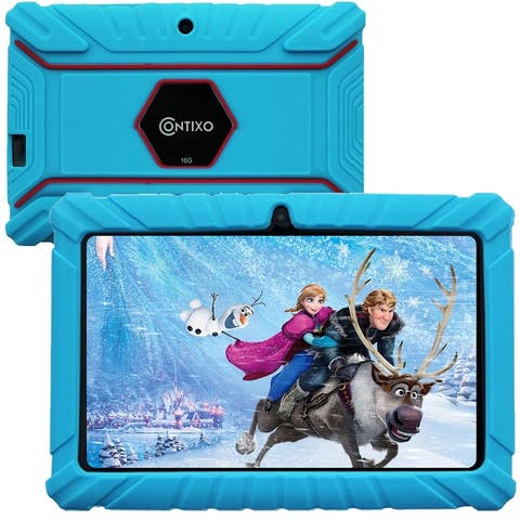 """Contixo 7"""" V9-2 Kids Tablet Android 10.0 Touch Screen Display Bluetooth Dual Wi-Fi Camera Tablet for Kids w/Kid-Proof Case"""