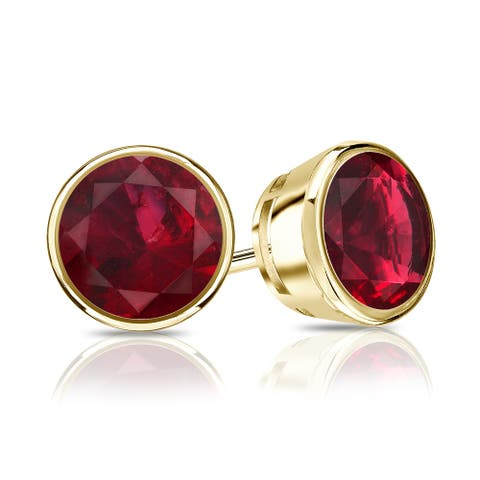 Auriya 14k Gold 1/3ctw Bezel-set Ruby Gemstone Stud Earrings
