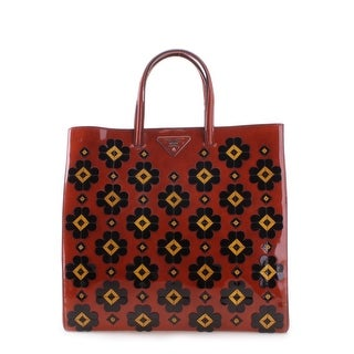 Prada Floral Pattern Spazzolato Leather Tote Handbag - Red - M