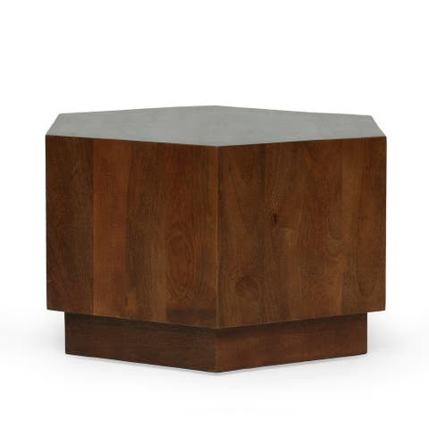 """Missoula Contemporary Handcrafted Mango Wood Hexagonal Coffee Table by Christopher Knight Home - 24.00"""" L x 28.00"""" W x 18.00"""" H"""
